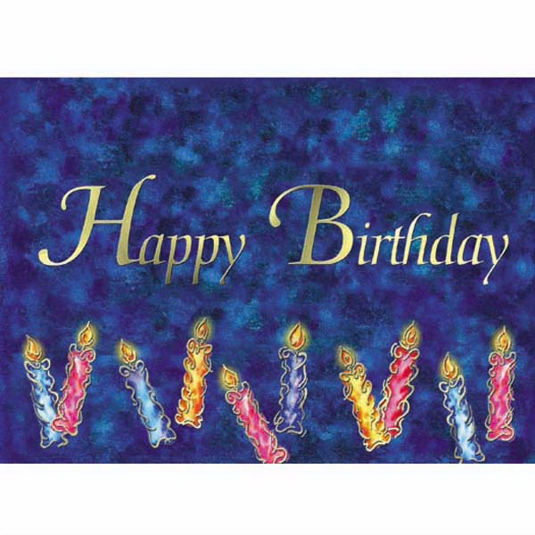 Happy Birthday With Navy And Black Background, With Candles - Everyday Birthday Greeting Card With Stock Sentiment Inside Photo
