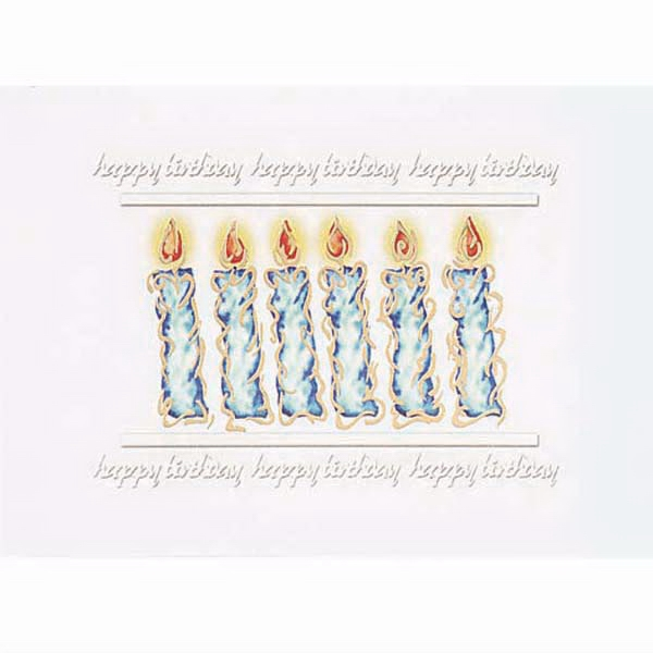 Happy Birthday (three Times, Top And Bottom) With Candles In The Middle - Everyday Birthday Greeting Card With Stock Sentiment Inside Photo