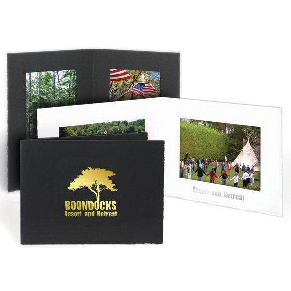 "Black - Horizontal Double-sided Portrait Folder, Holds A 4"" X 6"" Photo Photo"