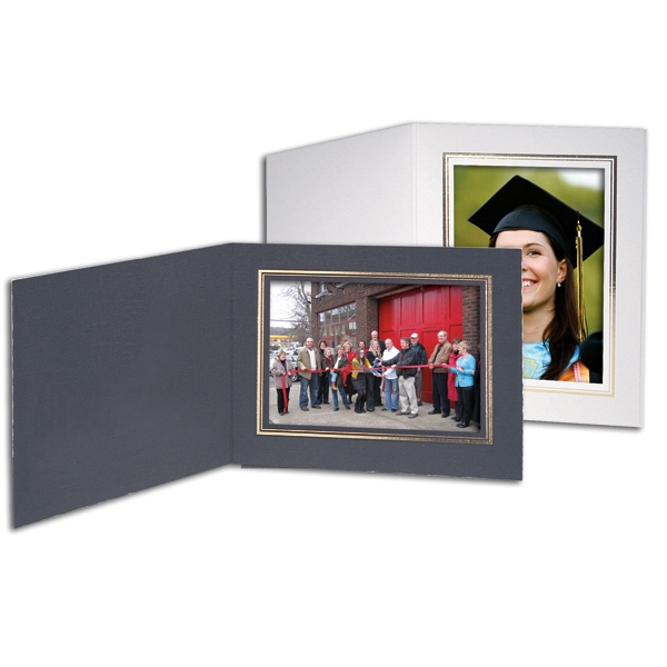 "White - With Border - Horizontal Portrait Folder Holds 5"" X 7"" Frame Photo"