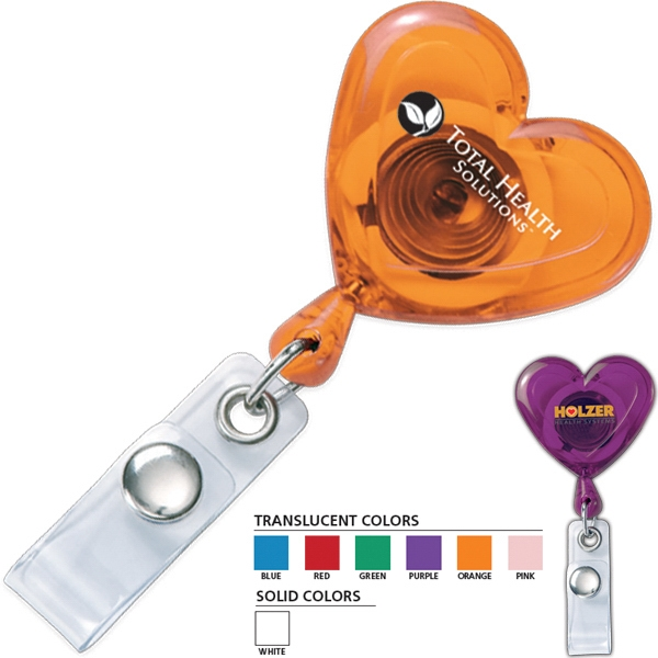 "Secure-a-badge (tm) - Retractable Heart Shaped Badge Holder With 30"" Nylon Cord Photo"