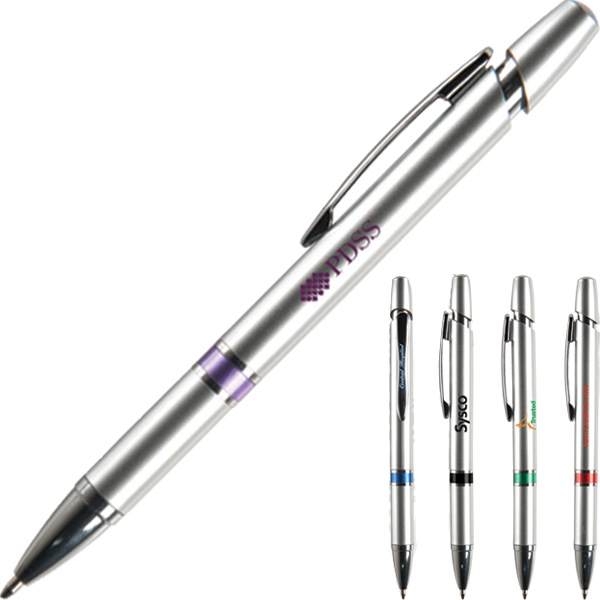 Ojai Sc - Techno Style Retractable Ballpoint Pen With Silver Barrel And Plunger Photo