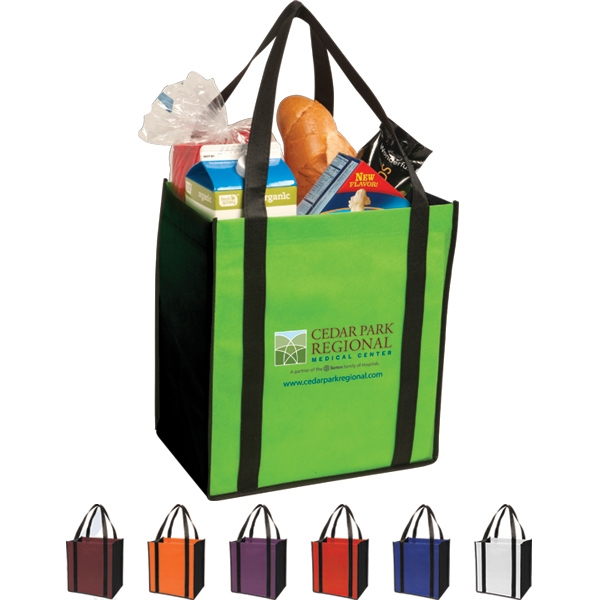 Non-woven Two-tone Grocery Tote Constructed Of 80 Gsm Non-woven Polypropylene Photo
