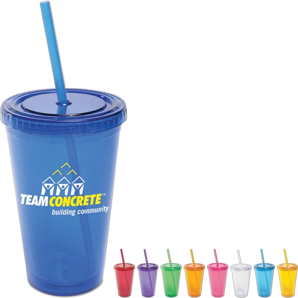 All-pro (tm) - Acrylic Cup With Straw. 16 Oz Photo