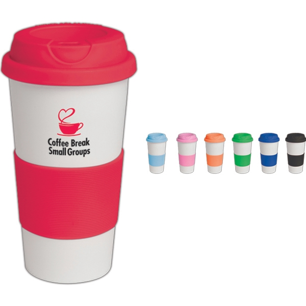 Commuter - 16 Oz Tumbler With Silicone Comfort Grip And Matching Lid. Bpa Free Photo