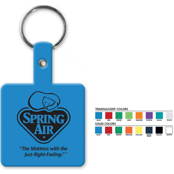 "Square Key Tag With 1"" Split Ring Photo"