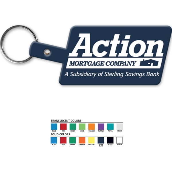 Slanted Rectangle - Rectangular Key Tag With Split Ring Photo