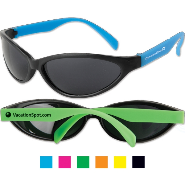 Tropical - Wrap Around Sunglasses With Black Frames And Ultraviolet Lenses Photo