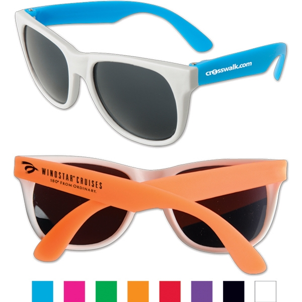 Sunglasses With White Frames And Neon Colored Temples Photo