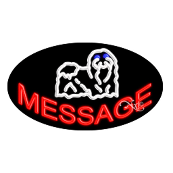 Oval Animated Neon Sign with Custom Lettering - Dog - Oval Animated Neon Sign with Custom Lettering - Dog.