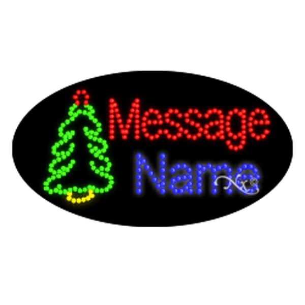 Oval Animated LED Sign - Christmas Tree