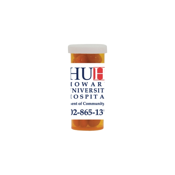 Candy King - Mini Pill Bottle With Cinnamon Red Hots. Cinnamon Red Hots In Pill Bottle Photo