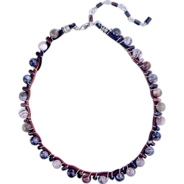 New Style Sherwood Agate - Multi-colored Agate Bead Necklace Photo
