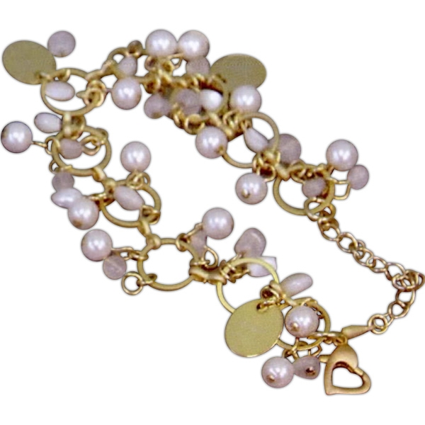 "Eevah Port Campbell - 2 Charms - Satin Gold And Freshwater Pearl Bracelet., With Up To 3 Gold Charms. 7"" Long Photo"