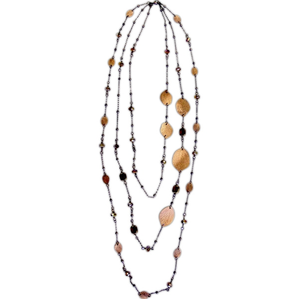 Eevah Antijuo Leaf - With Tag - Three Stand Antique Copper Leaf Necklace With Copper Colored Beads And Crystal Photo