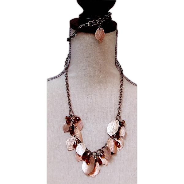 Eevah Chilean Copper - Antique Copper Necklace With Etched Leaves And Copper Colored Crystal Beads Photo