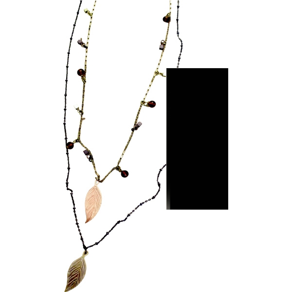Eevah Capa - With 2 Charms - Double Strand Antique Gold And Antique Copper Necklace With Leaf Charms Personalized Photo