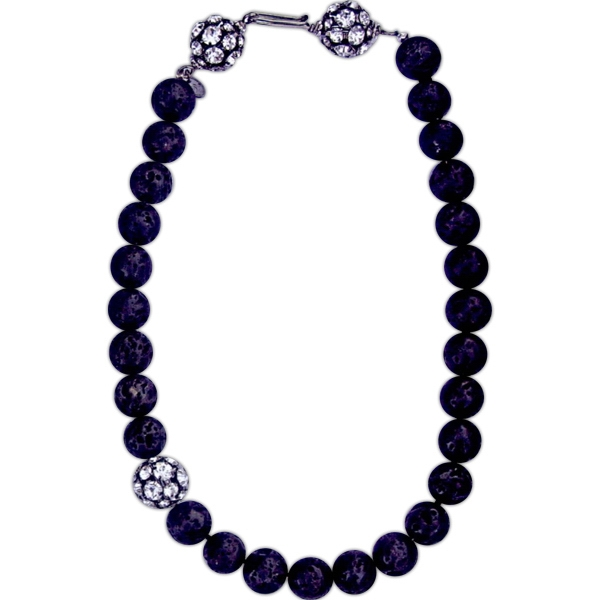 "Eevah Moonlit - 16"" - Lava Bead Necklace With Rhinestone Cluster Bead Accent Photo"