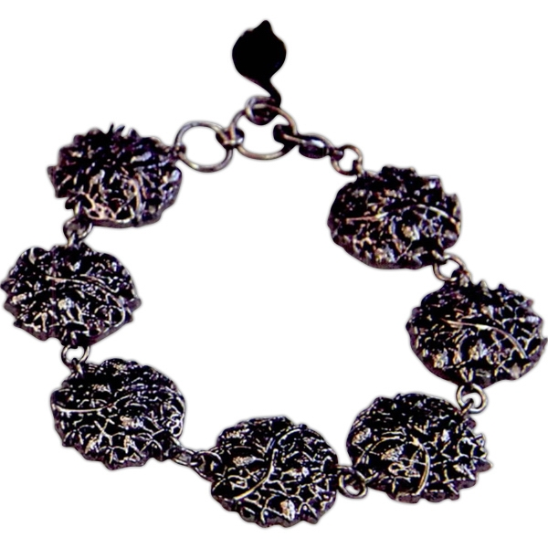 Eevah Steel Garden - Without Tag - Make A Statement In This Gunmetal Round Charm Bracelet With Leaf For Personalization Photo