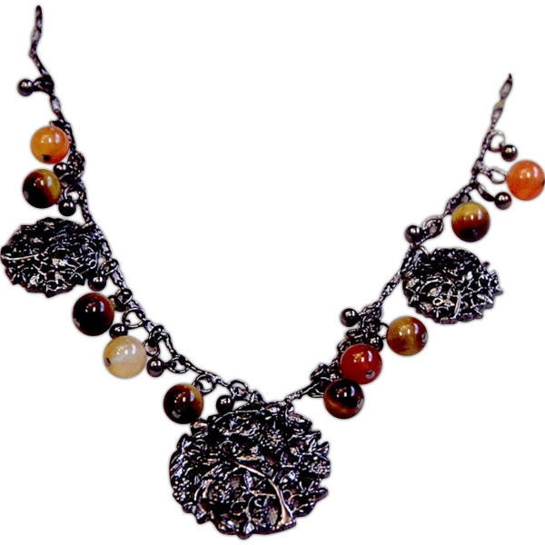 "Eevah Steel Garden - With Tag - Necklace Stunning Gunmetal Round Charms Hang Between Agate Beads. 13"" Length Photo"