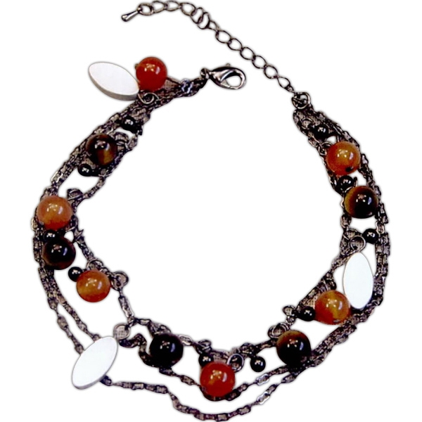 Eevah Morne De Salle - With 3 Tags - Bracelet-agate Beads Twist Around Gunmetal Chains With Three Gunmetal Oval Charms Photo