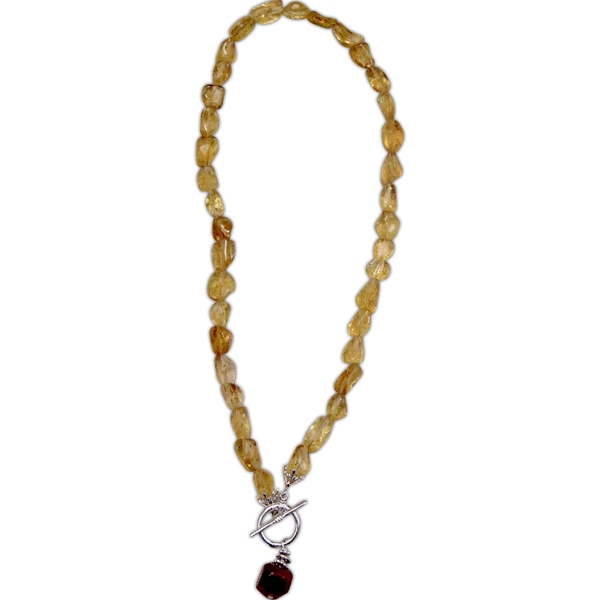Eevah Sun Drop - Genuine Citrine Nugget Y Style Necklace With Front Toggle Closure And Agate Stone Photo
