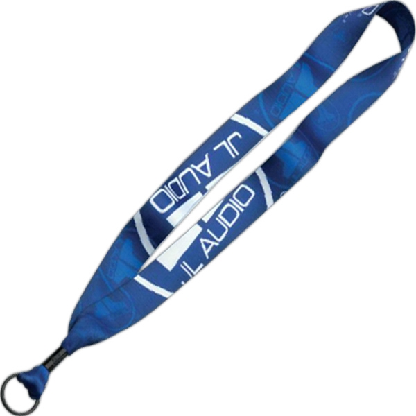 "1"" Dye Sublimated Lanyard w/Metal Crimp & Metal Split-Ring"