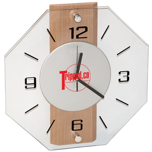 Mdf Wood And Glass Wall Clock With Brushed Aluminum Dial Photo