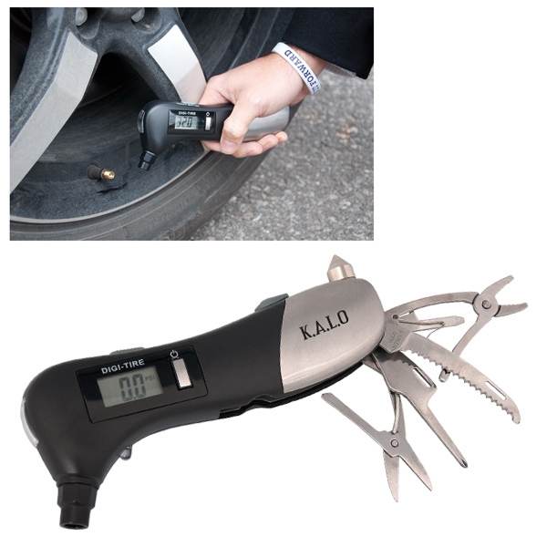 "Tire Gauge With Multi Tool, 2.75"" W X 6.25"" H X 1"" D Photo"