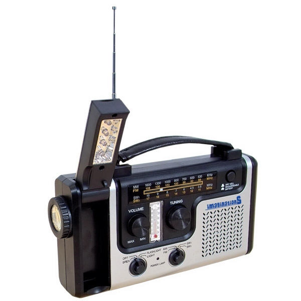 "Solar Hand Crank/short Wave Radio, 9.5"" W X 5.5"" H X 2"" D Photo"