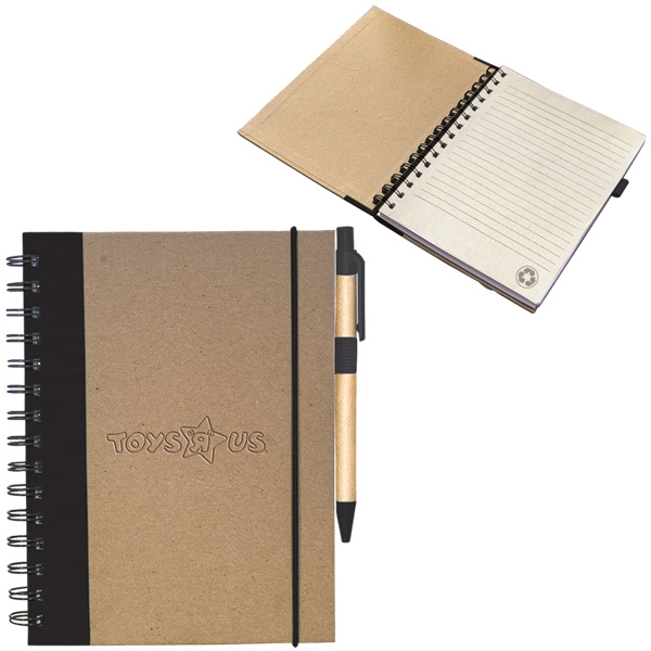 Spiral Bound Jotter With 80% Recycled Cardboard And Colored Linen Cover Photo