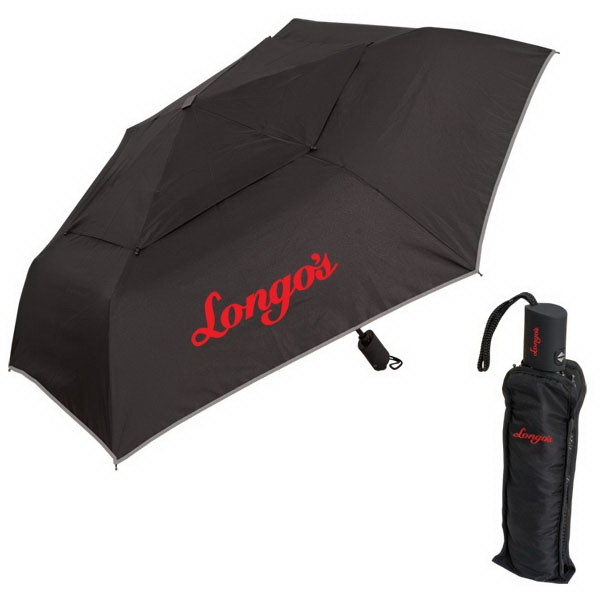 Six-panel 190t Double Layer Polyester Umbrella With Silver Trim Photo