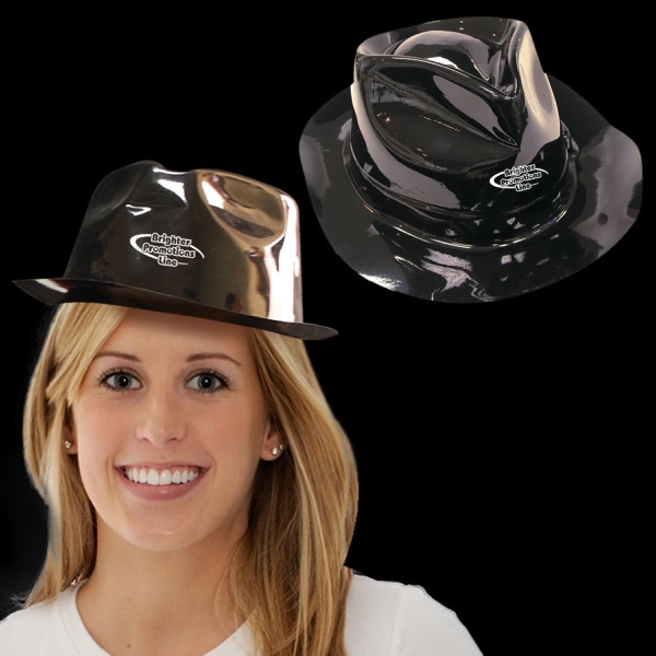 Black Plastic Fedora Gangster Hat Photo