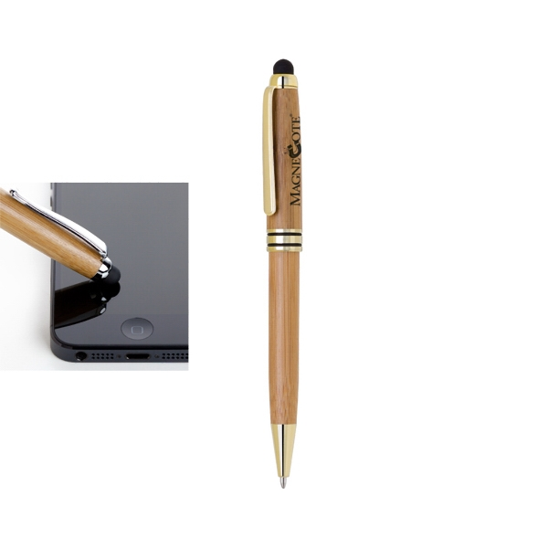 ECO-Friendly Bamboo stylus and ballpoint pen.