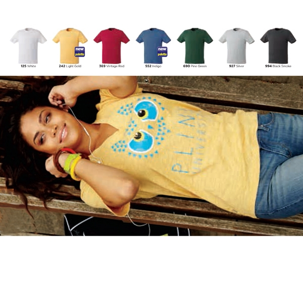 Lyell - Blank - Women's Short Sleeve Tee Has Self Fabric Collar Photo