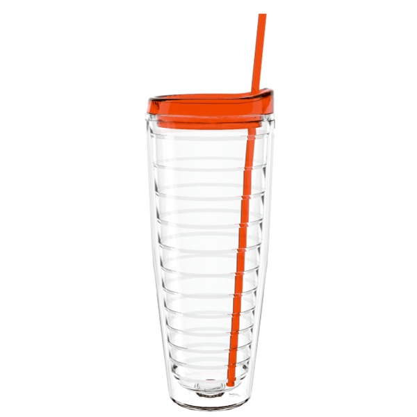 "26 Oz. ""shelby"" Clear Double Wall Tumbler Lid & Straw- Made With Tritan Photo"