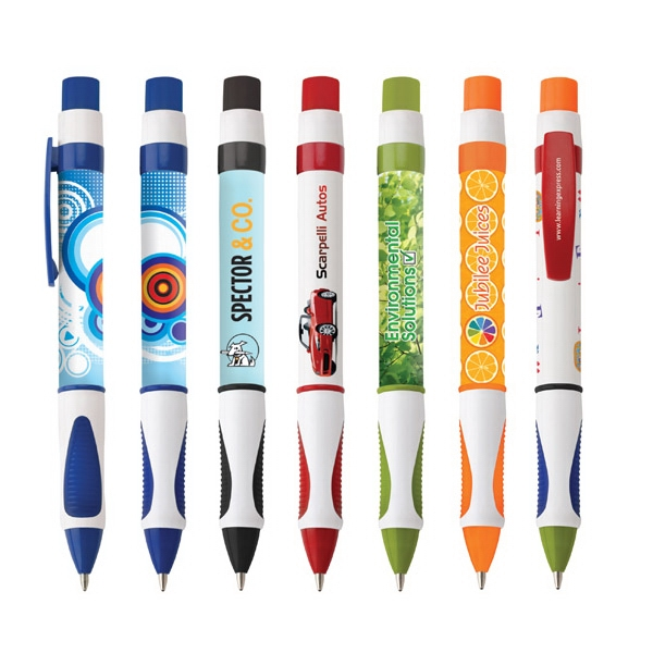 Peacock - By Sea - (9 To 10 Weeks Delivery After Approval Of Art.) - Push-action Plastic Pen With White Barrel, Colored Trim, Grip & Full Wrap Imprint Photo