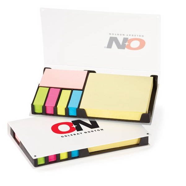 Easi-notes (r) - Refillable Box With 6 Multi-sized/colored Adhesive Pads And Flag Strips Photo