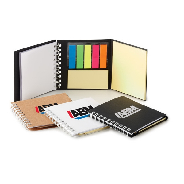 Easi-notes (r) - Memo/flag Book With Double Spiral Binding, Flag Strip Pads, And Adhesive Yellow Pads Photo
