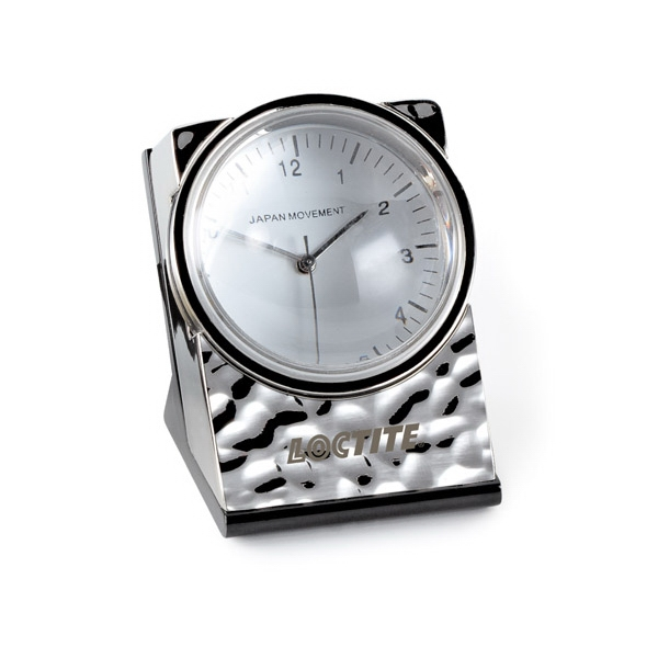 Signature - Desktop Clock With Rippled Chrome Finish, Removable Acrylic Magnifier & Glass Base Photo
