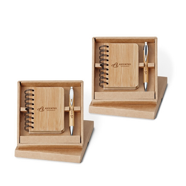 Asia - 2-piece Bamboo Gift Set With Push-action Ballpoint Pen And Jotter Photo