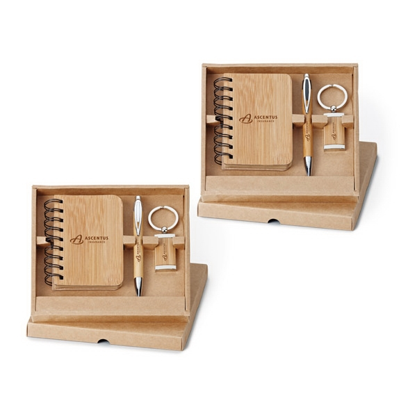3-piece Bamboo Gift Set With Jotter, Push-action Pen And Key Ring Photo