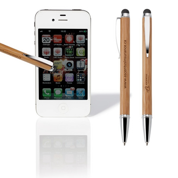 Asia - Twist-action Bamboo Pen With Rubber Capacitive Stylus Photo