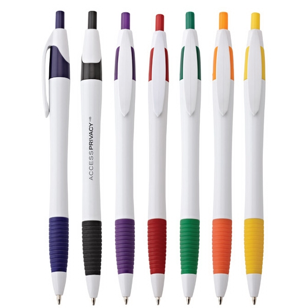 Payton - Push-action Ballpoint Plastic Pen With White Barrel And Colored Comfort Grip Photo
