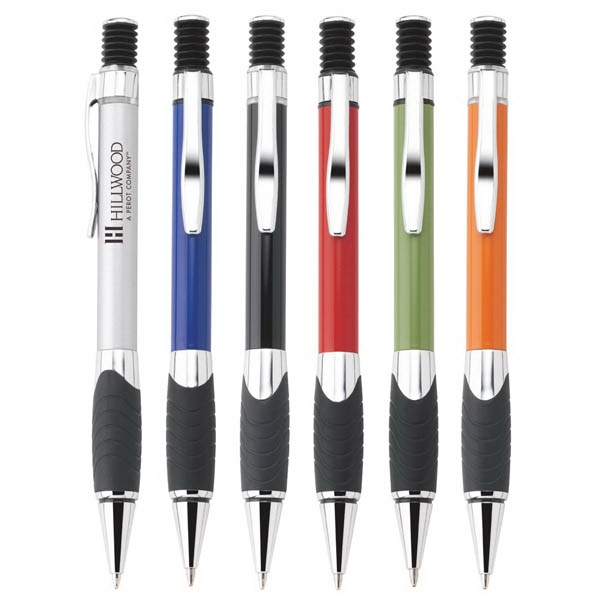 Monterey - Push-action Ballpoint Metal Pen With Chrome Trim, Black Grip & Accents Photo