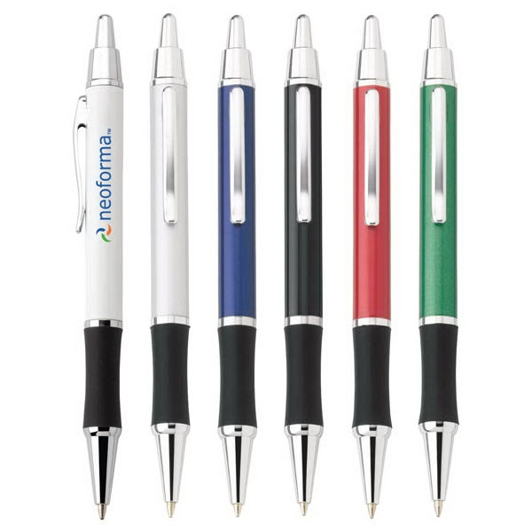 Omni - Push-action Ballpoint Metal Pen With Chrome Trim And Black Comfort Grip Photo