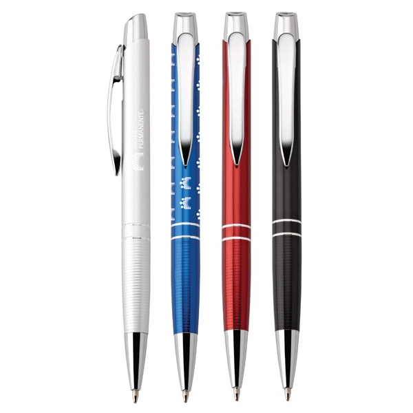 Marina - Aluminum Ballpoint Pen With Translucent Metallic Finish And Chrome Trim Photo
