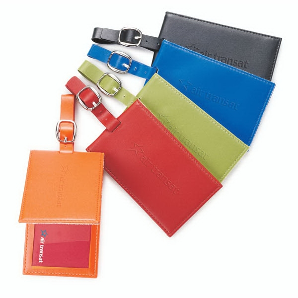 Colorplay - Leather Luggage Tag With Hidden Magnetic Closure. Holds Standard Business Card Photo