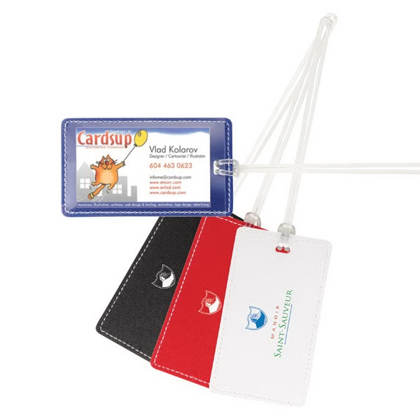 Colorplay - Vinyl Luggage Tag With White Stitching And Plastic Strap Photo
