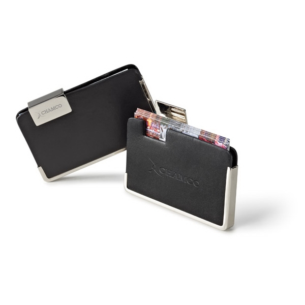 Signature - Vinyl Business Card Holder With Wide Pocket, Chrome Trim And Clasp Photo